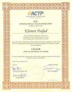 ICF Accreditation Klemen Podjed